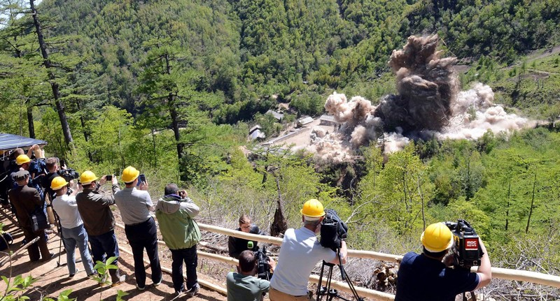 Foreign media watch as North Korea's nuclear test site is blown up
