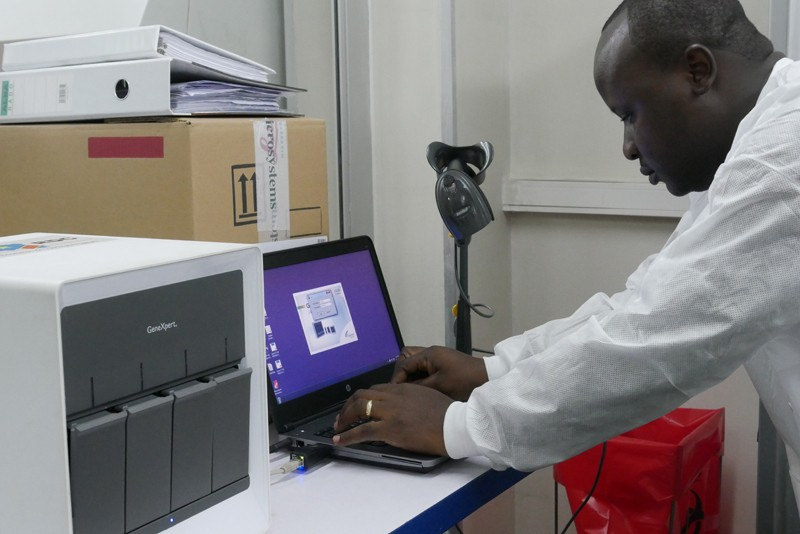 A GeneXpert diagnostic testing set-up in the INRB lab in Kinshasa.