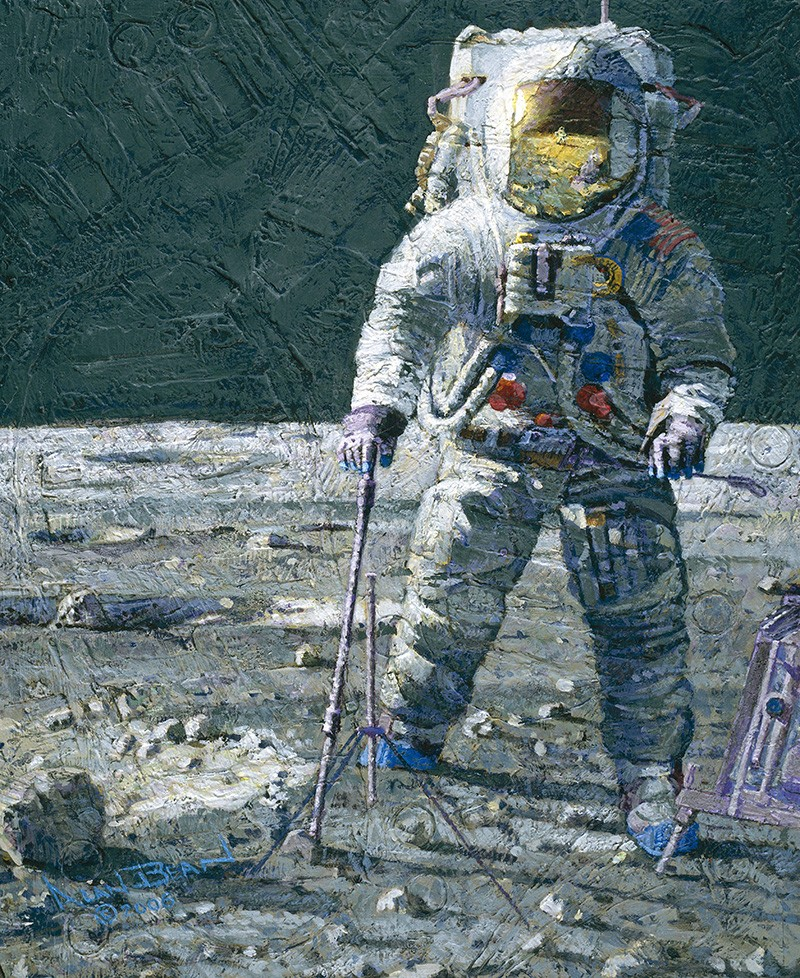 A painting of astronaut Pete Conrad on the lunar surface. It is heavily textured with moon dust and lunar tool and boot marks