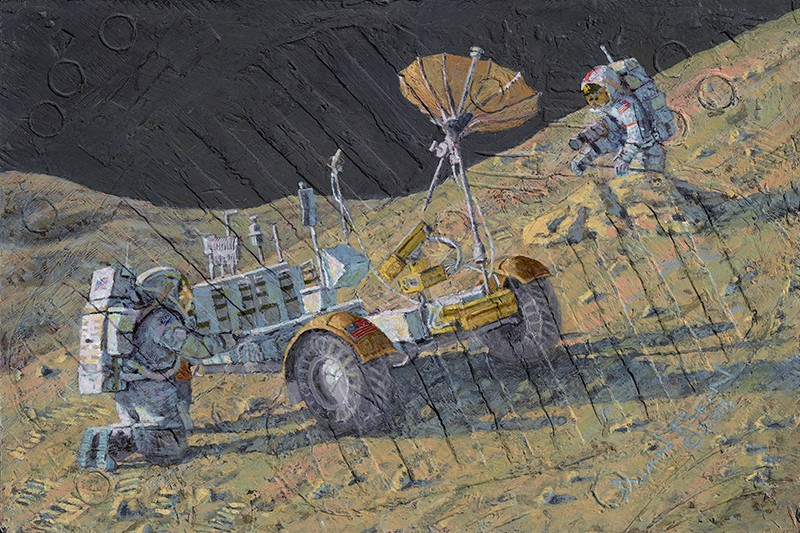 Two astronauts hold a rover that is slipping down a lunar slope. Painting is textured with moondust, lunar tools and bootprints