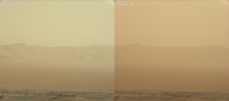 These two pictures show the increasingly severe dust storm at Gale Crater on Mars.