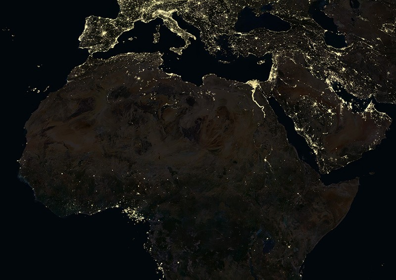 A satellite view of North Africa by night