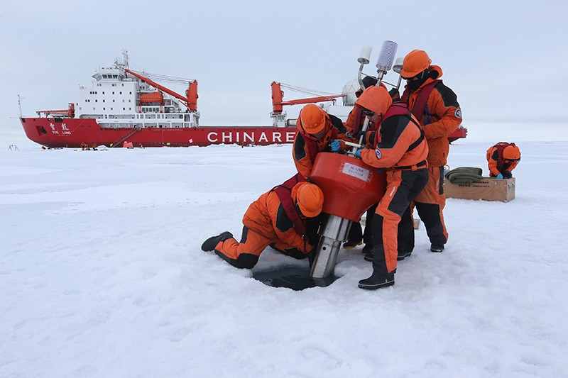A Chinese research team collects data in the Arctic Ocea