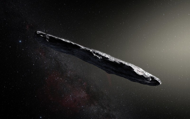 An artist's impression of the first interstellar asteroid: `Oumuamua