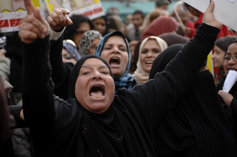 Egyptian women protest against sexual violence on the streets of Cairo