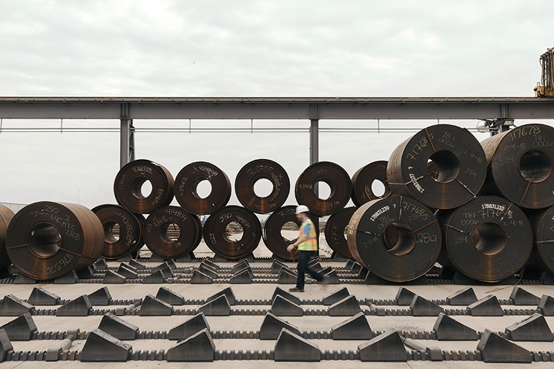 Rolls of Turkish steel await processing in Texas