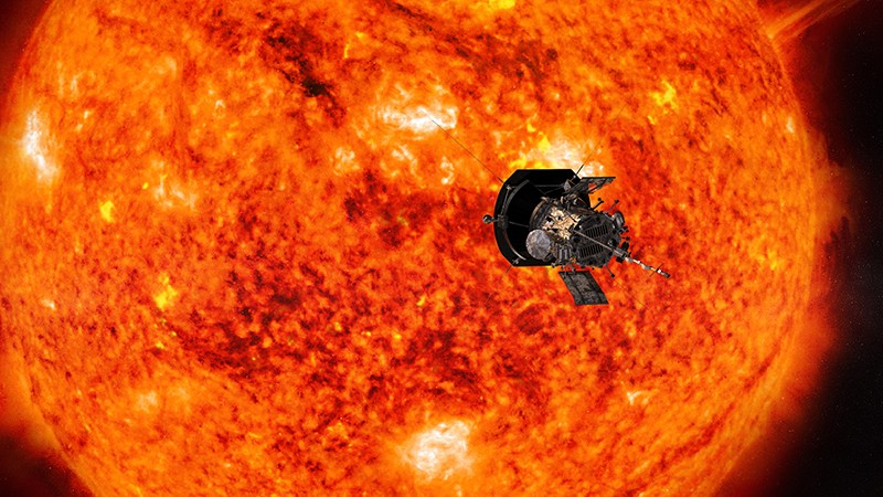 Illustration of the Parker Solar Probe Spacecraft hurtling around the sun