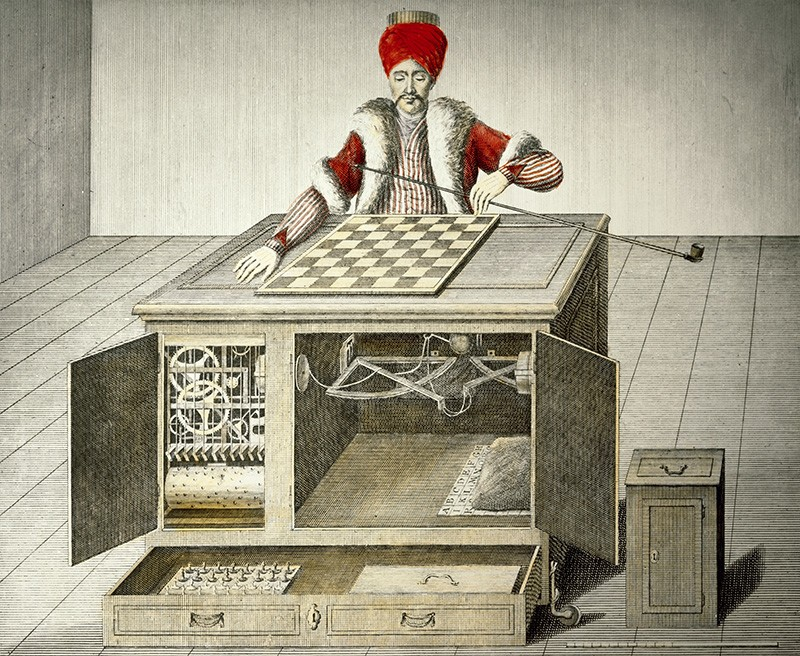 Engraving of the famous hoax chess playing automaton the 'Mechanical Turk', with speculation as to the internal mechanisms