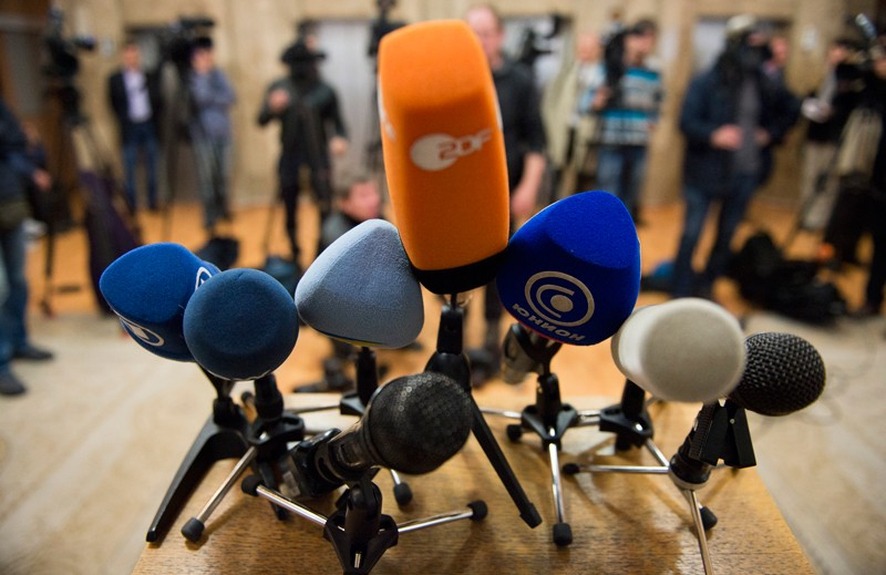 Microphones at a press conference