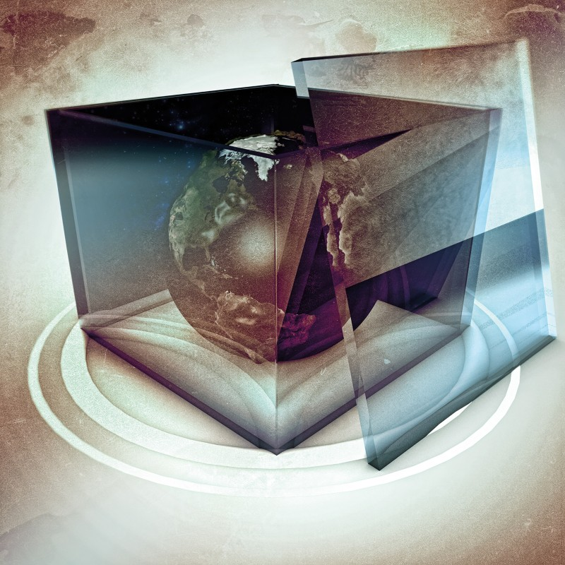 Artistic illustration of planet Earth in a transparent box
