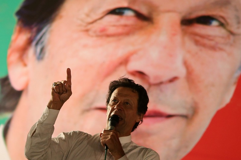 Imran Khan addressing supporters at campaign meeting