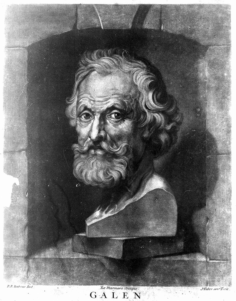 Black and white mezzotint of a bust of Galen set in a stone alcove.
