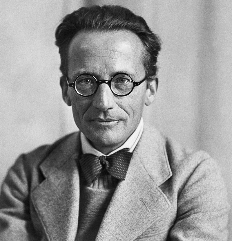 Black and white photo of Erwin Schrödinger, in glasses and bow tie, looking at the camera.