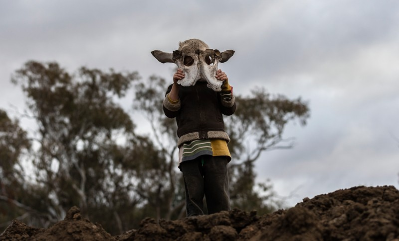 A boy holds an animal skull on his family's farm in New South Wales, Australia
