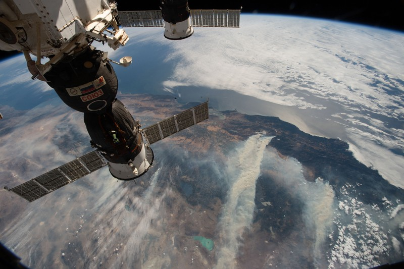 Wildfires in Northern California seen from the International Space Station