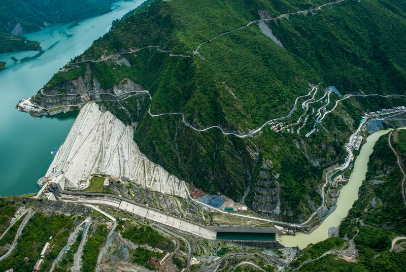 The Tehri dam and hydroelectric power plant perches at the foothills of the Indian Himalayas.Credit: Pete McBride/Getty