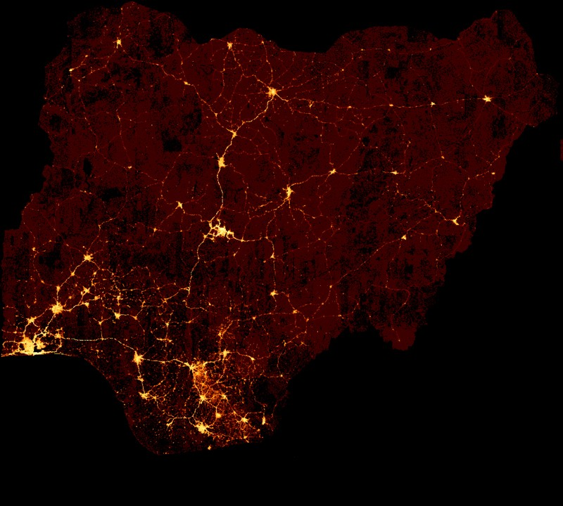 Predicted wealth map of Nigeria determined by AI analysis