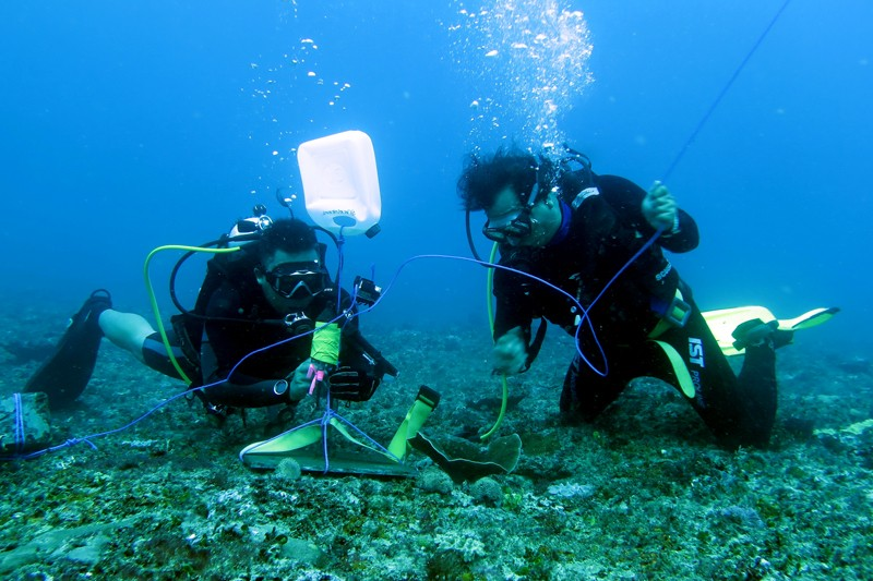 Divers install underwater recording equipment