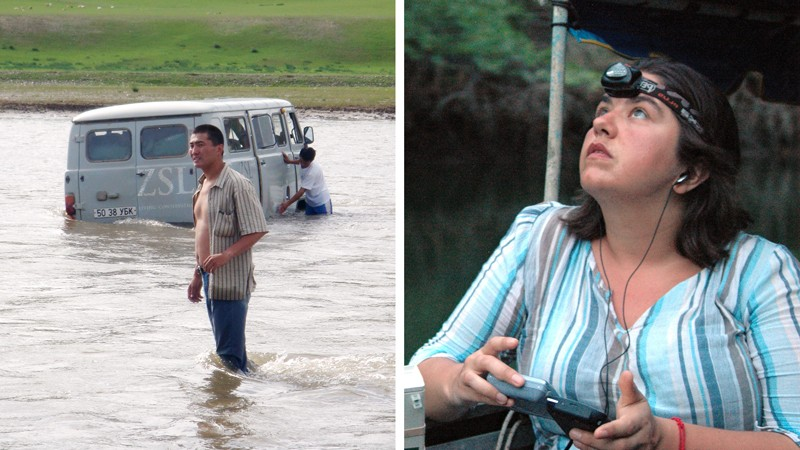 Left: A truck stuck in a river, Right: Kate Jones