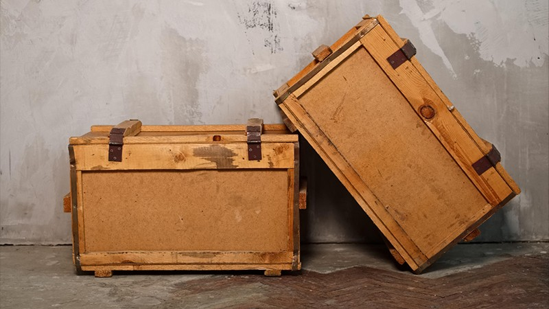 Two old wooden boxes
