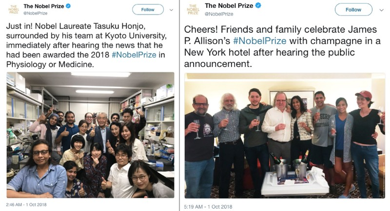 Tweets by the Nobel Prize that celebrates the winners with colleagues, friends and families in their respective countries