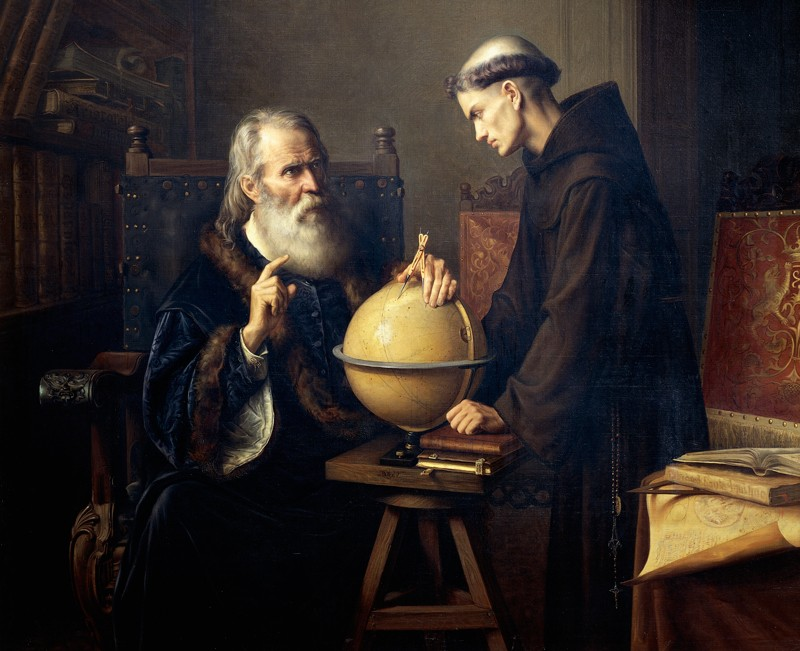 Painting of Galileo explaining his theories