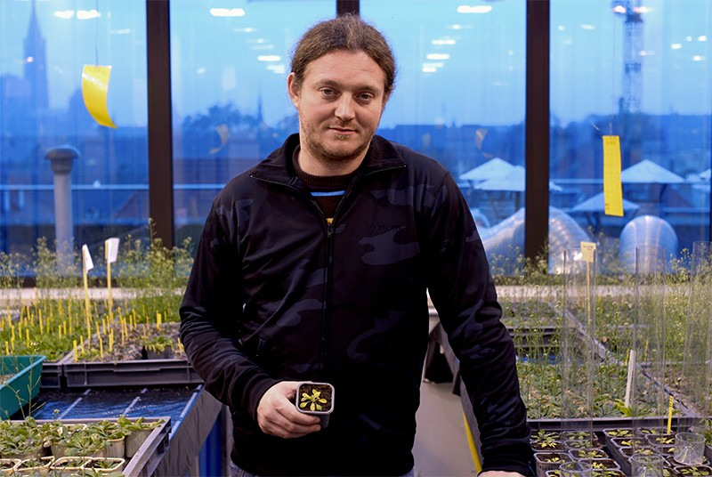 Dr Olivier Voinnet, pictured with his plants in 2006.
