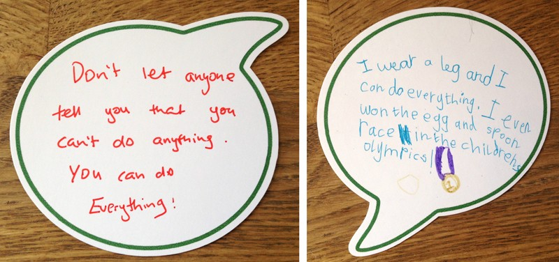 Advice from children who use prosthetics written on cards