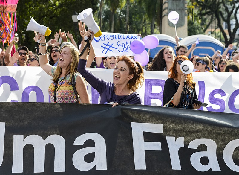 Women march against the extreme right-wing candidate Bolsonaro in Brazil