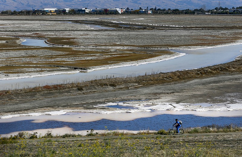 A view of the South Bay Salt Ponds restoration project at Bayfront Park in Menlo Park, California
