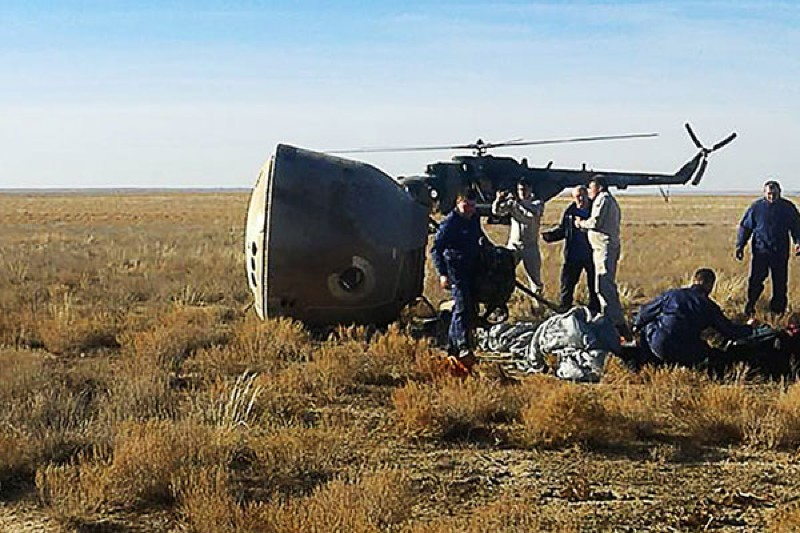 A view of the Soyuz MS-10 space-capsule crash site after the launch failure