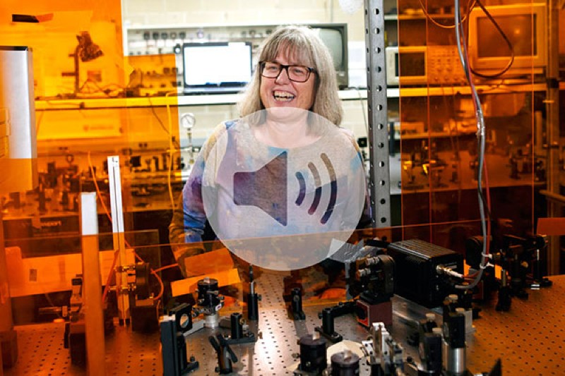 Professor Dr. Donna Strickland shows off instruments in her lab following a news conference at the University of Waterloo
