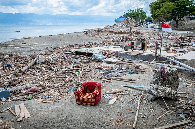 Damage from the earthquake and tsunami in Donggala beach in Palu