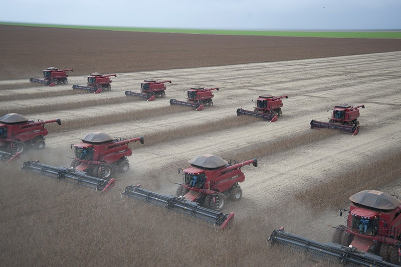 Combines harvest soybeans in Brazil