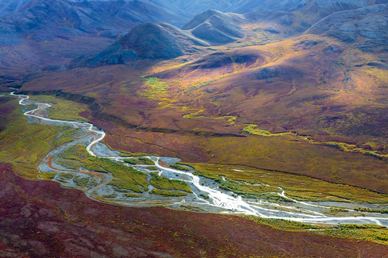 Aerial view of the Arctic tundra in Alaska