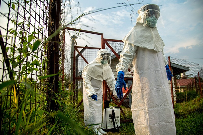 Medical staff in Uganda at an Ebola Unit