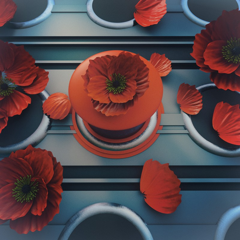 Stylized illustration of futuristic poppies