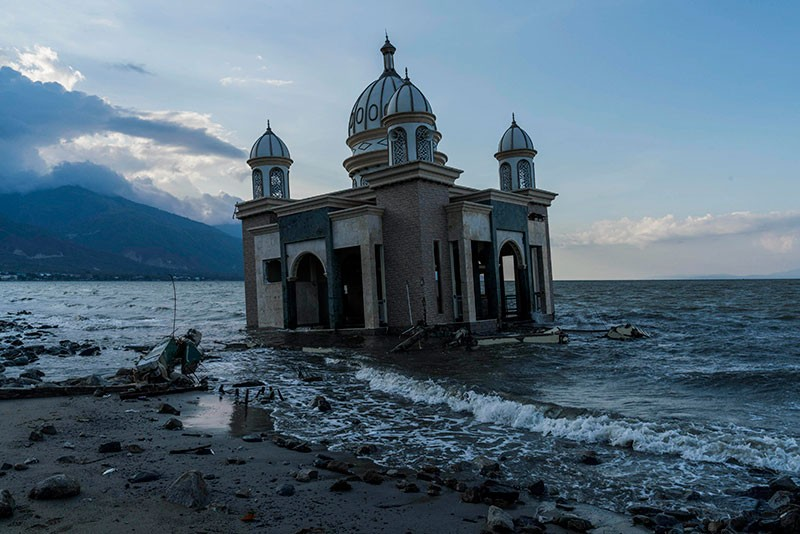 The Landmark Arkam Babu Rahman Floating Mosque which fallen into the sea after the earthquake and tsunami in Indonesia