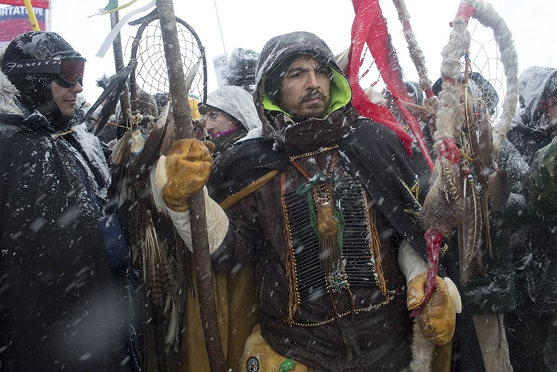 Protesters in the snow at Standing Rock, North Dakota.