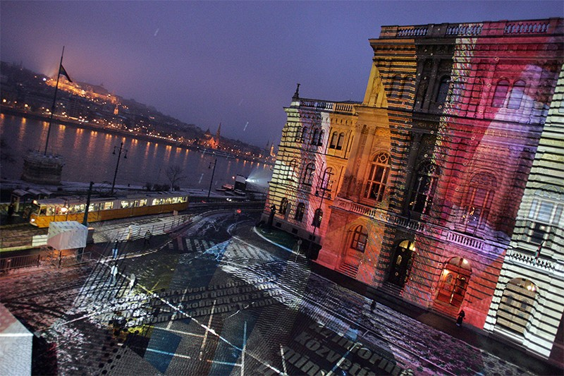 Colourful light created by Peter Kozma is cast on the building of Hungarian Sciences Academy in 2007