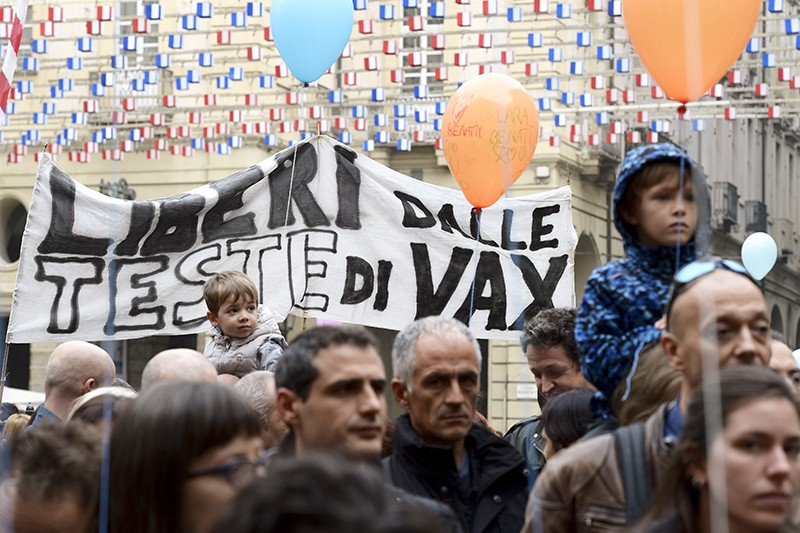A rally against the obligation to vaccinate children in Turin, Italy