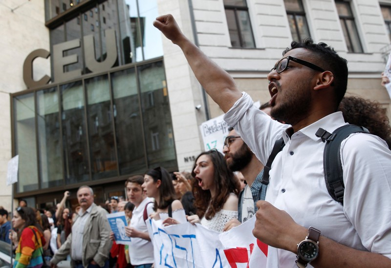 Students protest the closure of the Central European University in Budapest