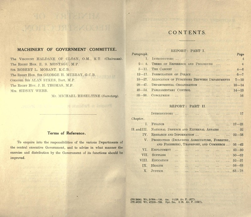 Report of the Machinery of Government Committee, 1918