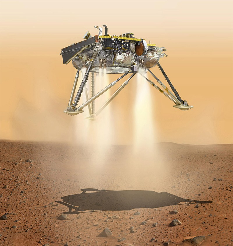 Illustration Mars Insight lander touching down on martian surface