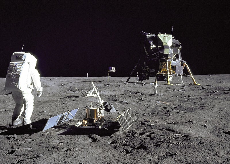 Buzz Aldrin during the Apollo 11 extravehicular activity on the moon