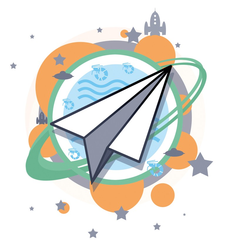 Artistic illustration of a paper aeroplane on a backdrop suggestive of space exploration