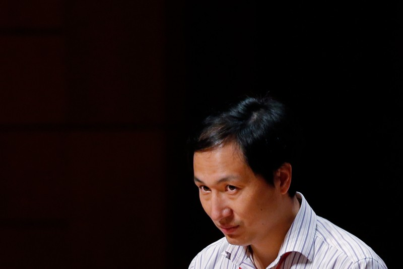 He Jiankui speaks during the Human Genome Editing Conference