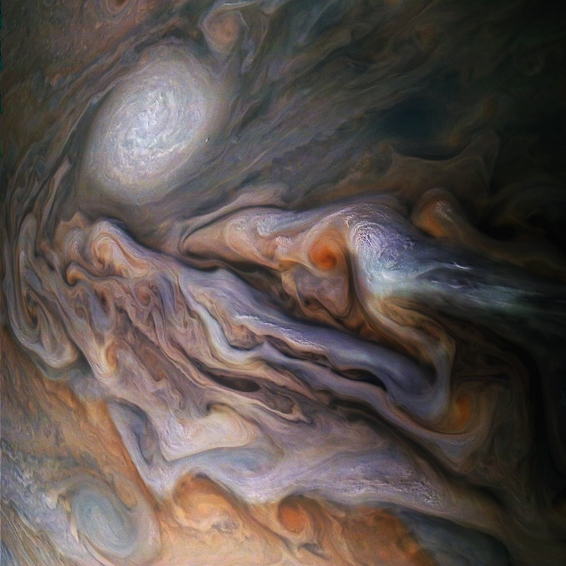 Swirling clouds in Jupiter's dynamic North Temperate Belt.