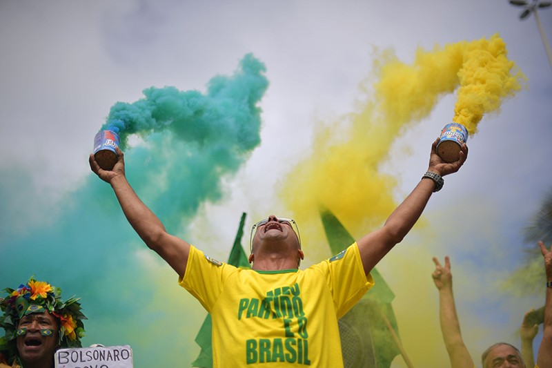 A supporter of far-right presidential candidate for the Jair Bolsonaro