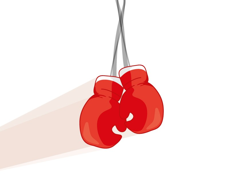 Drawing of boxing gloves